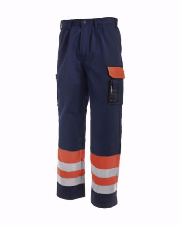 Blaklader 1584 High Visibility Trousers (Orange/Navy Blue)